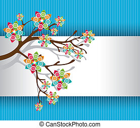 Stylized Tree with Colorful Blossoms Light