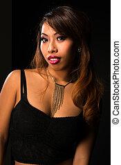 Cambodian - Pretty petite Cambodian girl all in black