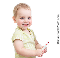 Child with red tip pen isolated on white