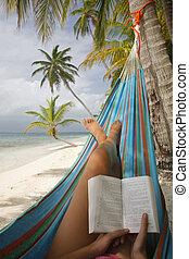 Woman Reading in a Hammock - Woman reading in a hammock on a...