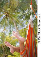 Woman in a Hammock - Woman in a hammock on a tropical beach