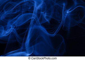 Real blue smoke on black background - Real blue smoke over...