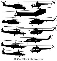 Contours of modern helicopters - Military equipment....