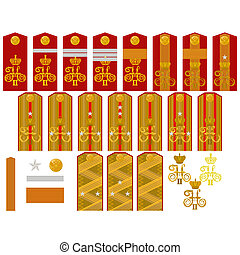 Insignia of the Russian Imperial Ar - Epaulets, military...