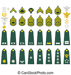 Insignia of the U.S. Army - Epaulets, military ranks and...