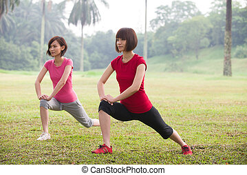 asian woman workout outdoor, chinese ethnicity
