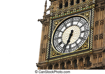 Big Ben clock isolated on white, London gothic architecture,...