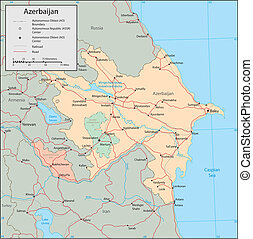 Azerbaijan - Vector map Marked geographical and...
