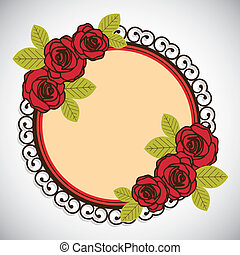 valentines day - Illustration flowers icons, roses and...