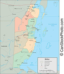 Belize - Vector map Marked geographical and topographical...