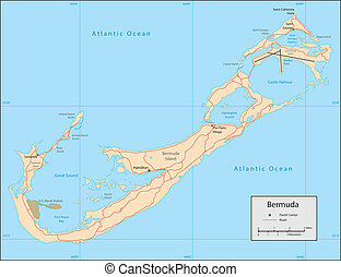 Bermuda - Vector map. Marked geographical and topographical...