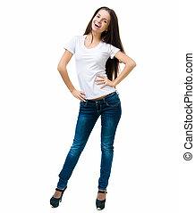 Beautiful young women - smiling young women in a white...