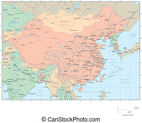 China - Vector map Marked geographical and topographical...