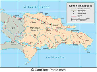 Dominican Republic - Vector map Marked geographical and...