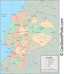 Ecuador - Vector map Marked geographical and topographical...