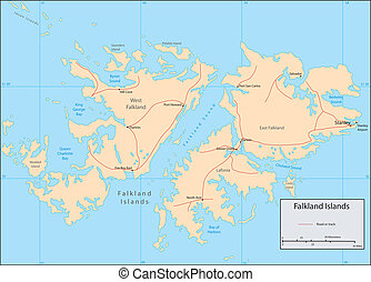 Falkland Islands - Vector map Marked geographical and...