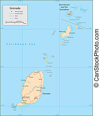 Grenada - Vector map. Marked geographical and topographical...