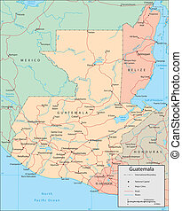 Guatemala - Vector map. Marked geographical and...