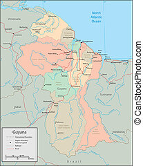 Guyana - Vector map Marked geographical and topographical...
