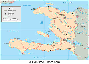 Haiti - Vector map Marked geographical and topographical...