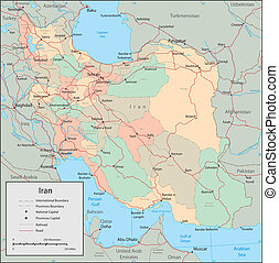 Iran - Vector map Marked geographical and topographical...