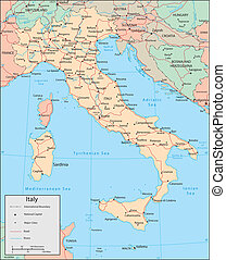 Italy - Vector map. Marked geographical and topographical...