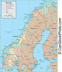 Norway - Vector map Marked geographical and topographical...