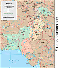 Pakistan - Vector map Marked geographical and topographical...