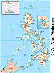 Philippines - Vector map Marked geographical and...