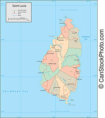 Saint Lucia - Vector map Marked geographical and...