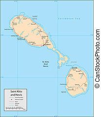 Saint Kitts Nevis - Vector map. Marked geographical and...