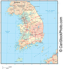 South Korea - Vector map Marked geographical and...