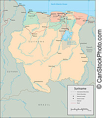 Suriname - Vector map Marked geographical and topographical...