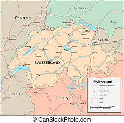 Switzerland - Vector map. Marked geographical and...