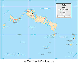 Turks Caicos Islands - Vector map. Marked geographical and...