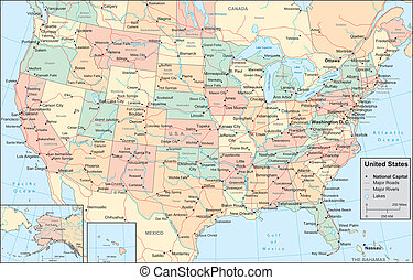 United States - Vector map Marked geographical and...