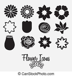 flowers icons - Illustration flowers icons, spring and...
