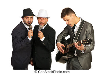 Group of singers with guitarist - Retro group of two singers...