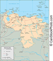 Venezuela - Vector map Marked geographical and topographical...