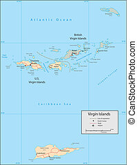 Virgin Islands - Vector map. Marked geographical and...