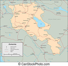 Armenia - Vector map Marked geographical and topographical...