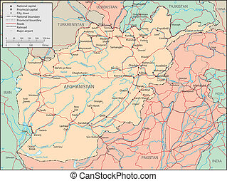 Afganistan - Vector map. Marked geographical and...