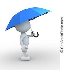Umbrella - 3d people - man, person with a umbrella