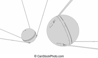 Sputnik 1 - 1957 Sputnik 1, technical lines drawing