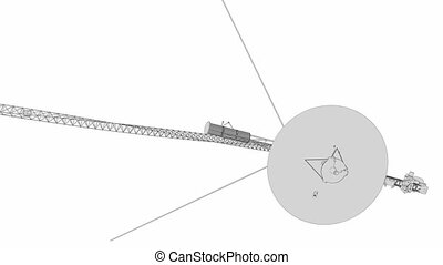 Voyager space probe, technical lines drawing