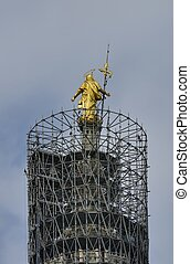 gilt Madunina and scaffoldings, Milan Milan, 2012 13 july,...