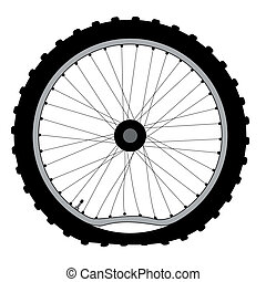 Buckled Bicycle Wheel - A buckled bicycle wheel and knobly...