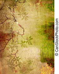 Abstract textured background with green and brown floral...
