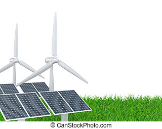 wind turbine and solar panel on a grass field