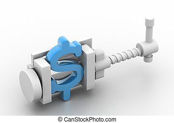 dollar symbol being squeezed in a vice